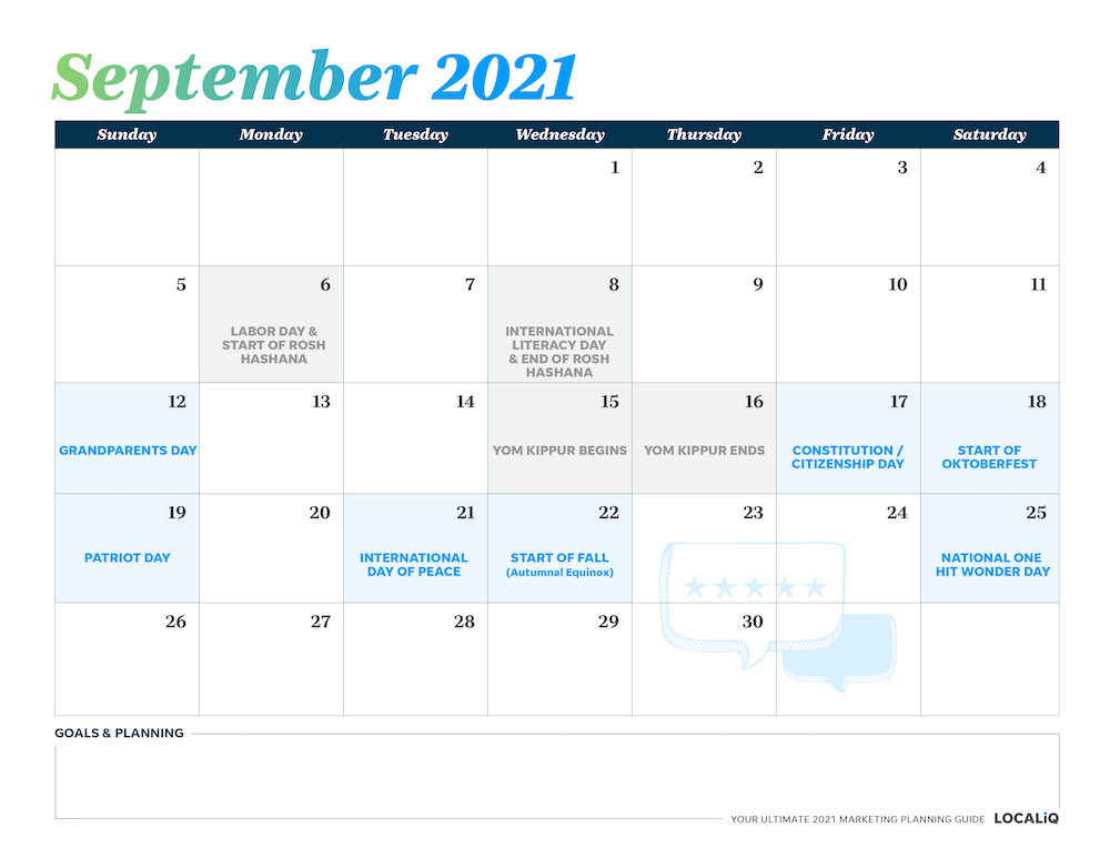 Plan your September 2021 marketing with this marketing planning calendar.