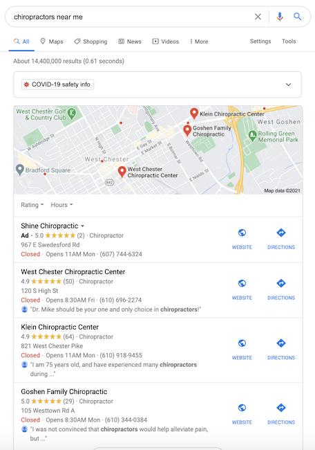 chiropractor seo - google my business