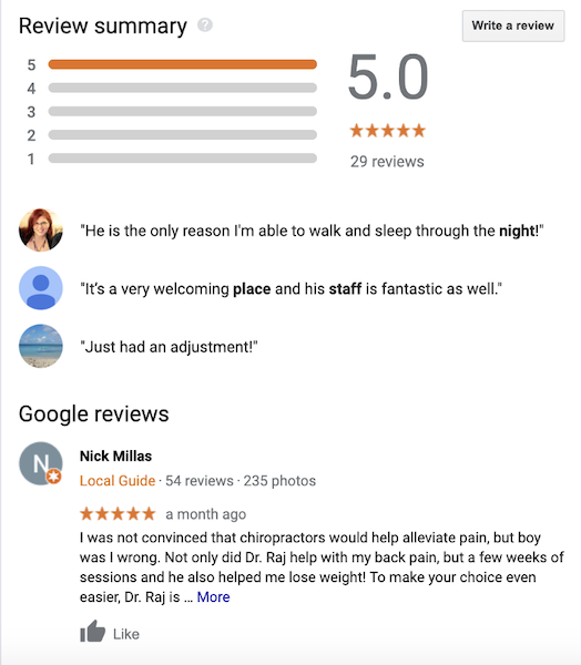 chiropractor seo - reviews