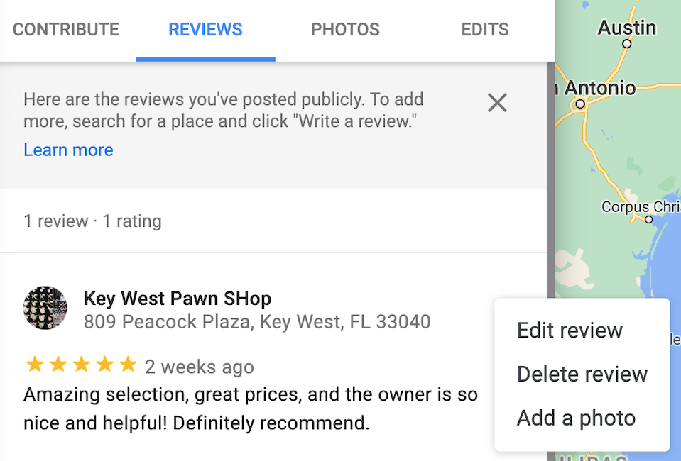 delete google reviews - how to delete review