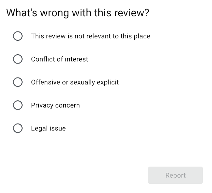 when you delete google reviews, you have to determine the reason the review should be removed.