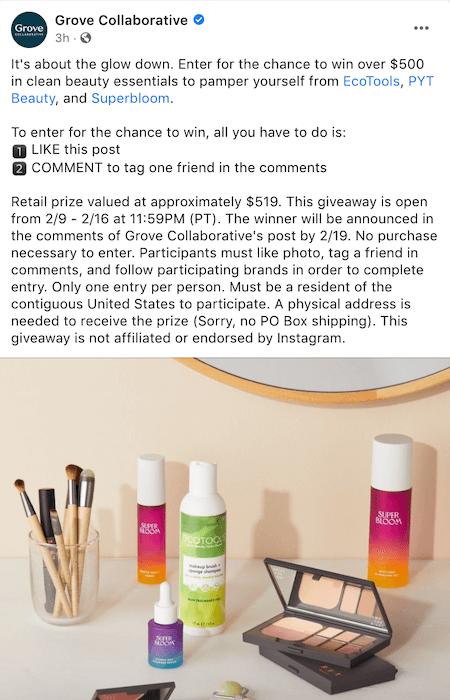 facebook giveaway - facebook contest prize