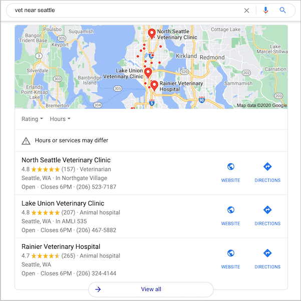 google local 3-pack example on search engine