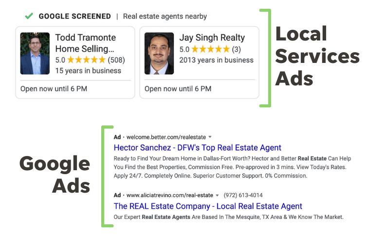 example of a local services ads vs google ads for real estate.