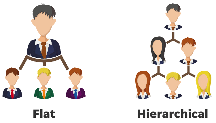 organizational chart for small business - flat vs hierarchical structure