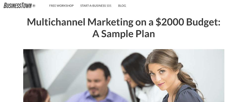 sample marketing plan - businesstown
