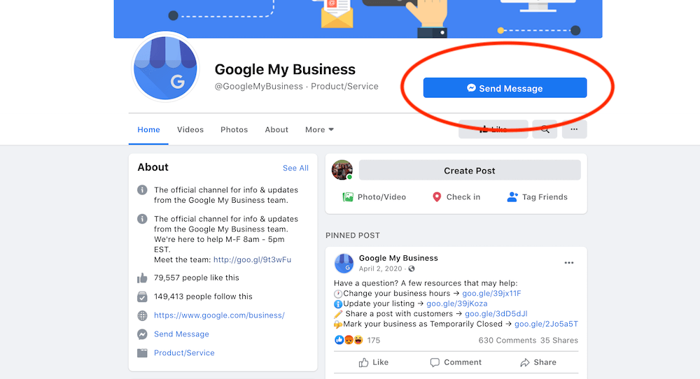 contact google my business support on facebook