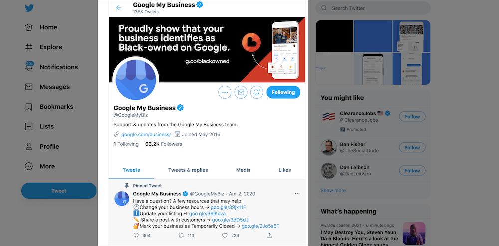 contact google my business on twitter
