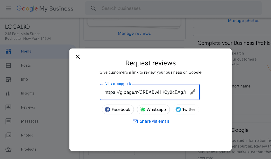 how to get google reviews - create custom google my business link