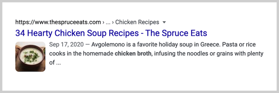 local seo - schema markup - no rich snippets example