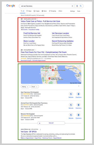 local seo - search results