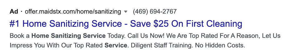 spring home services marketing - sanitizing discount
