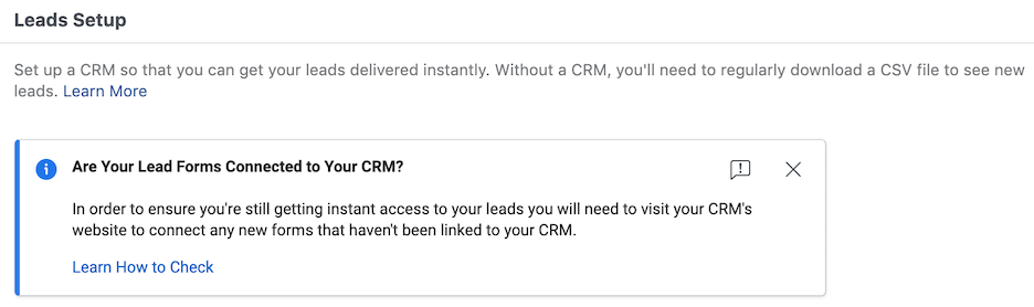 facebook lead ads - connect facebook to crm