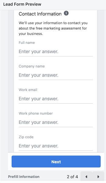 facebook lead ads - create facebook lead ad form