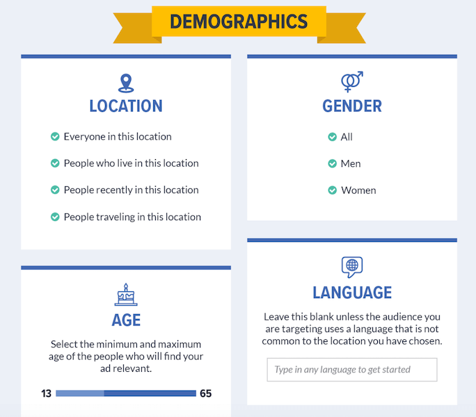 facebook lead ads - demographic targeting options