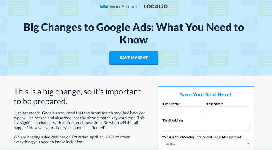 high converting landing page example