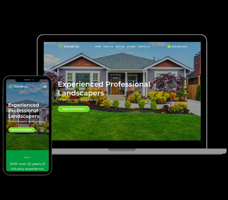 mobile and desktop view of landscaper website