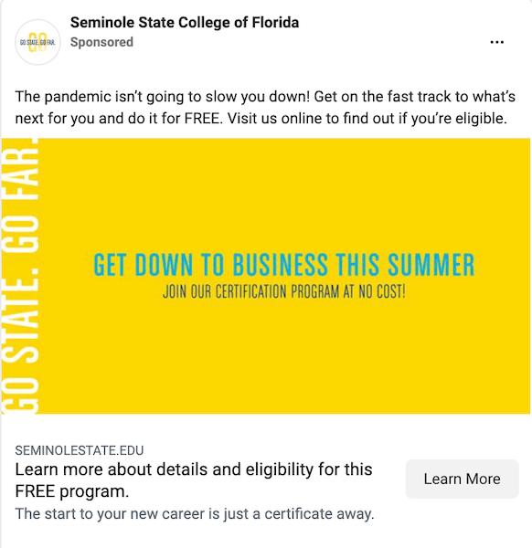 higher education marketing data - facebook advertising