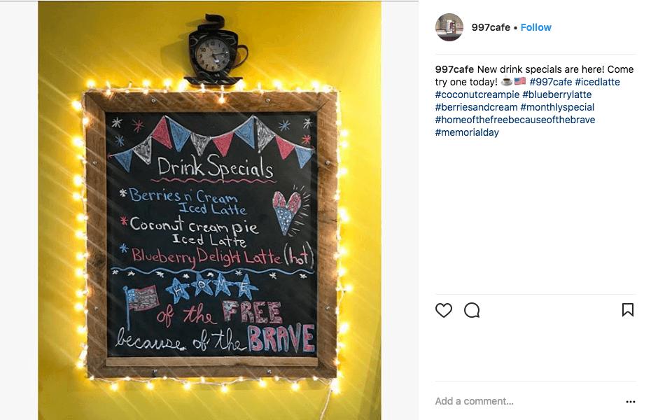 memorial day social media ideas - cafe 997
