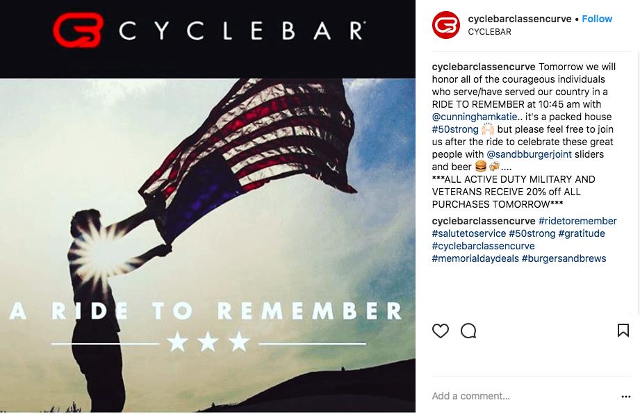 memorial day social media ideas - cyclebar