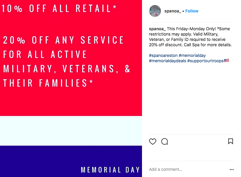 memorial day social media ideas - discount for military