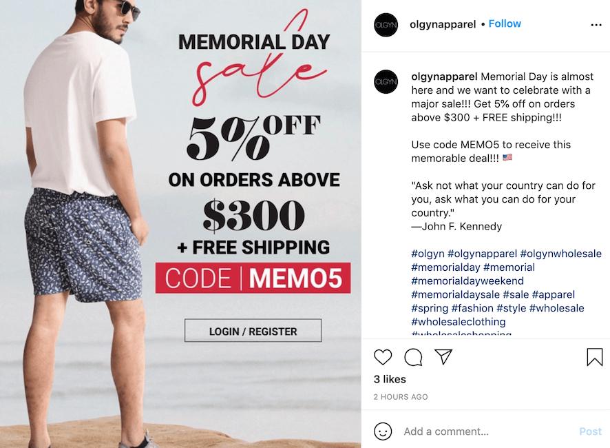 memorial day sale ideas - promo code