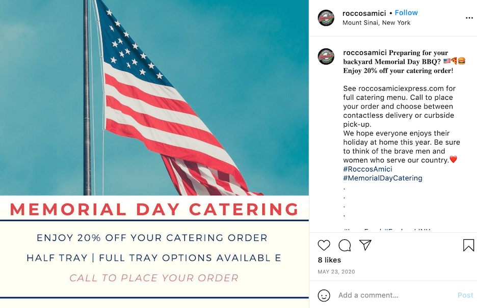 memorial day sales and social media ideas - catering specials