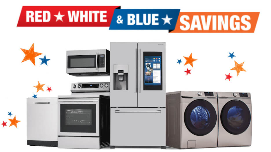 4th of july marketing slogans - red white and blue savings - home depot