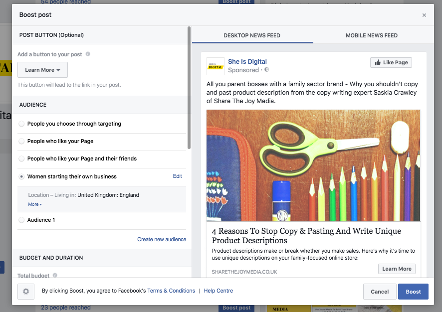 benfits of facebook advertising - boosted post