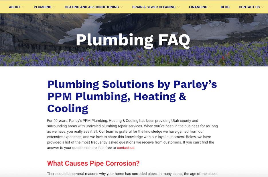 best plumbing websites - ppm plumbing - local seo