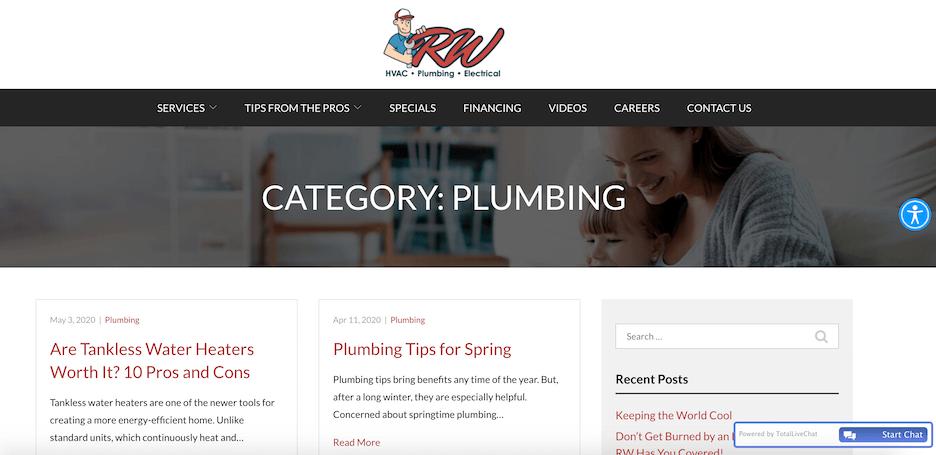 best plumbing websites - rw hvac - blog
