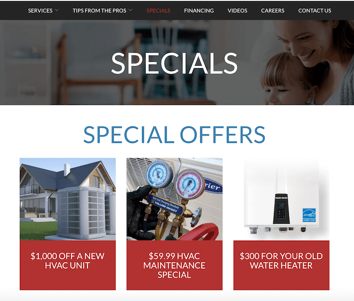 best plumbing websites - rw hvac - offers promotions and specials