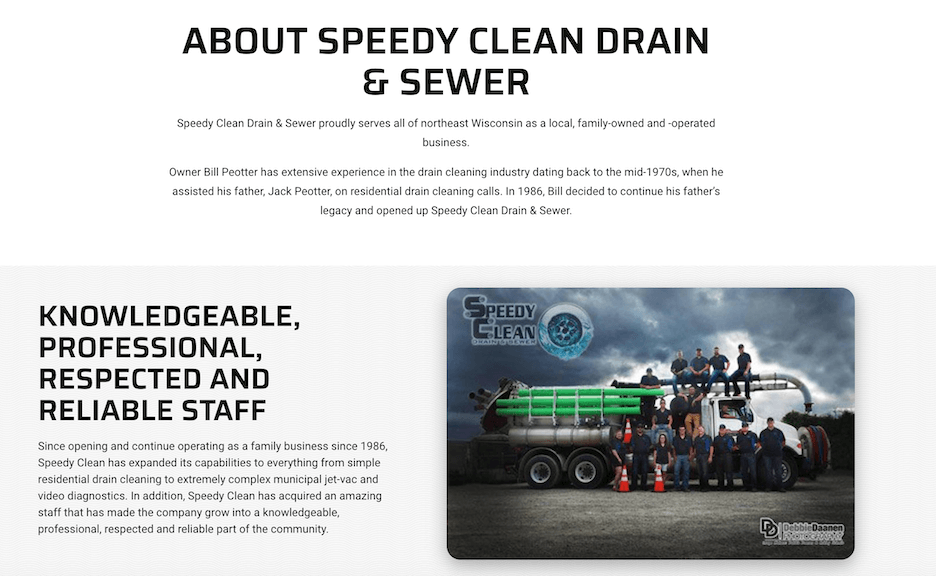 best plumbing websites - speedy clean - about us