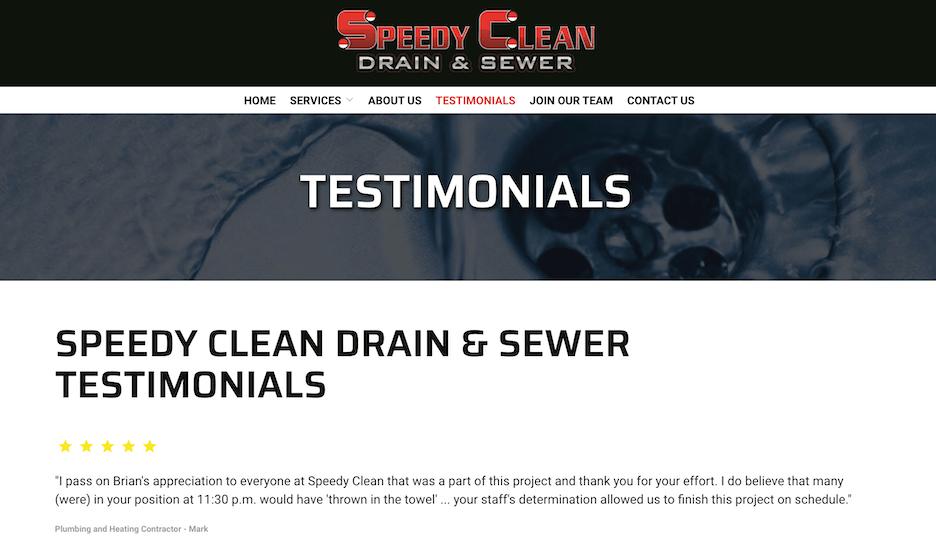 best plumbing websites - speedy clean - testimonials and reviews