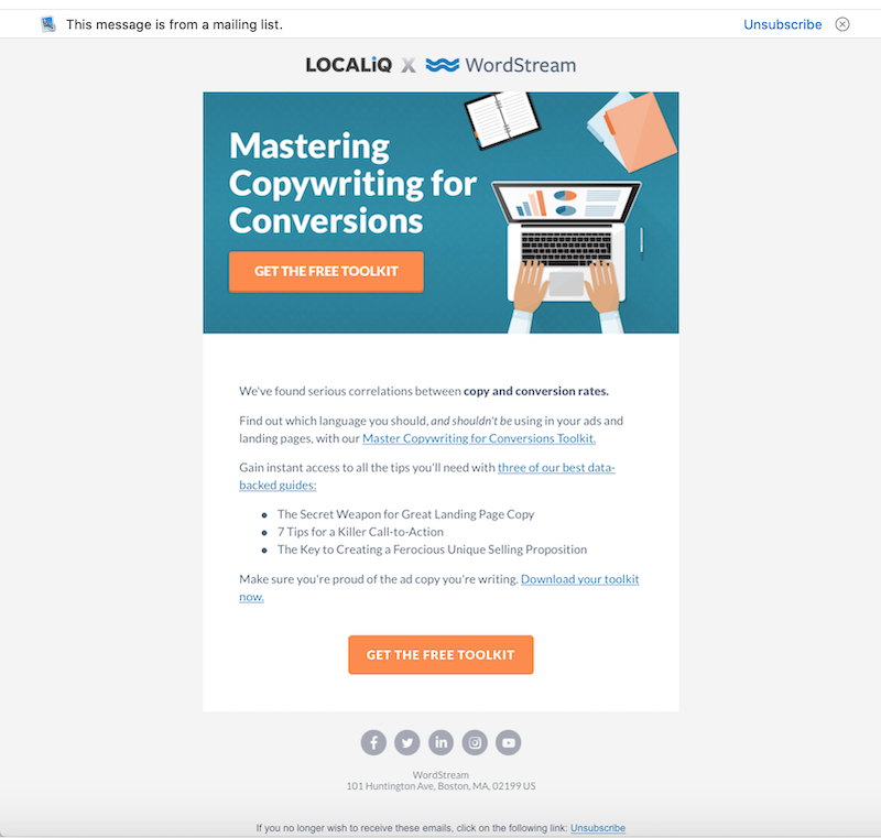 email copywriting - benefit focused email example