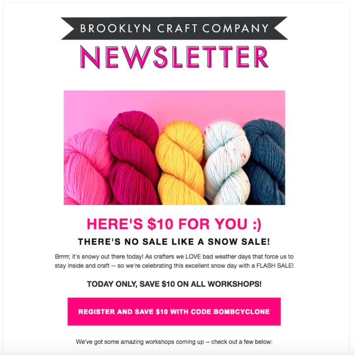 january newsletter example promoting a flash sale