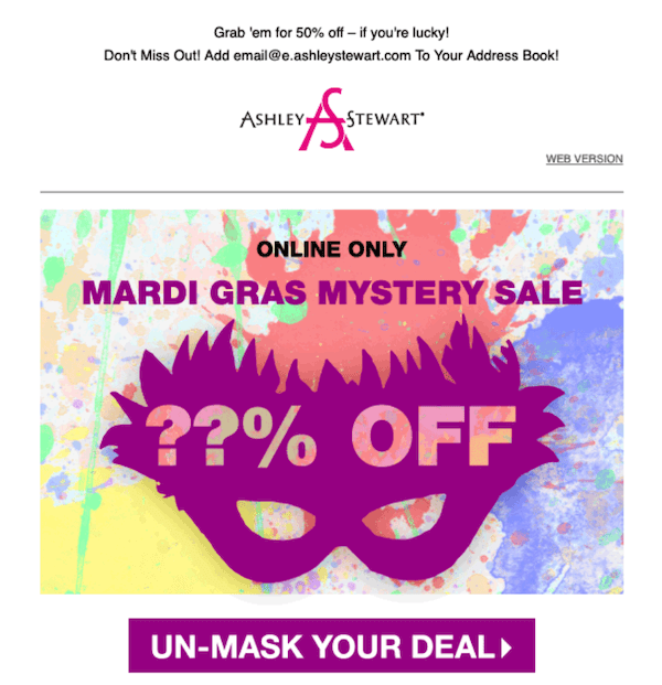 march email newsletter example with mardi gras mystery sale