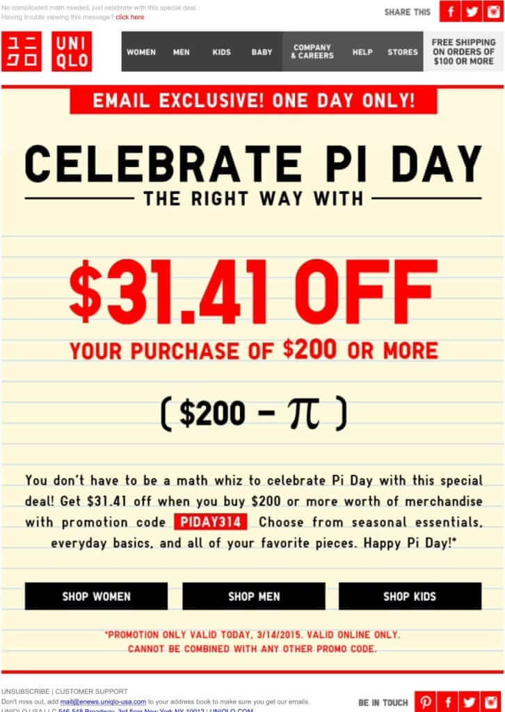 march newsletter example with a pi day discount