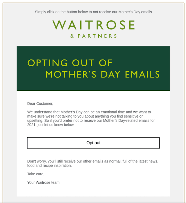 may newsletter example with option to opt out from mother's day emails