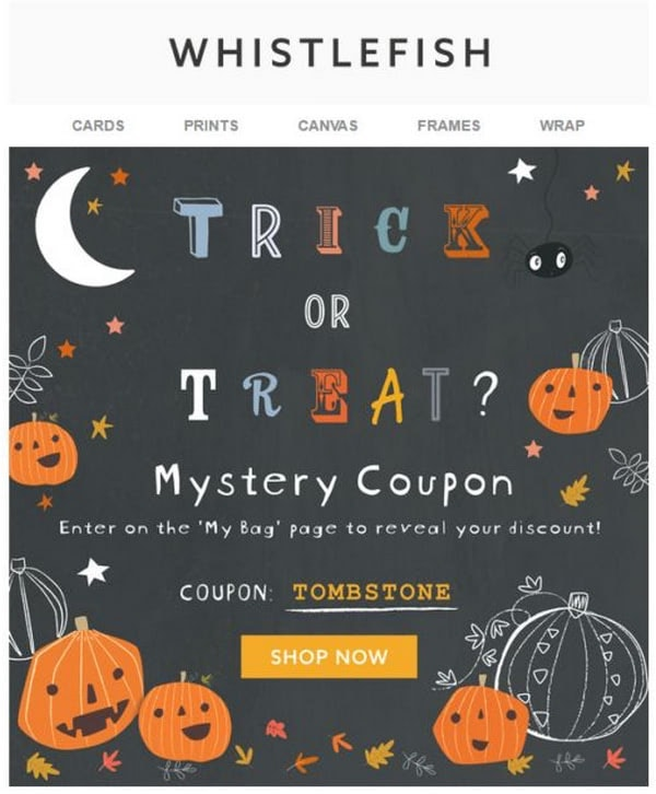 october email newsletter example with a trick or treat mystery coupon