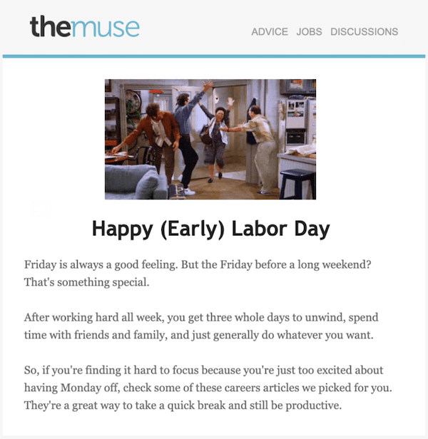 september newsletter example by the muse