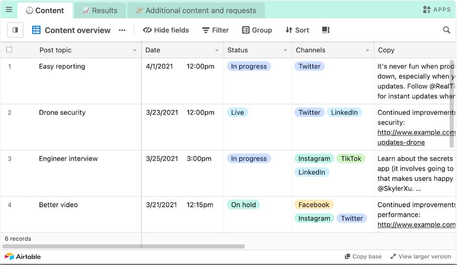 social media hacks - example of social media scheduling calendar