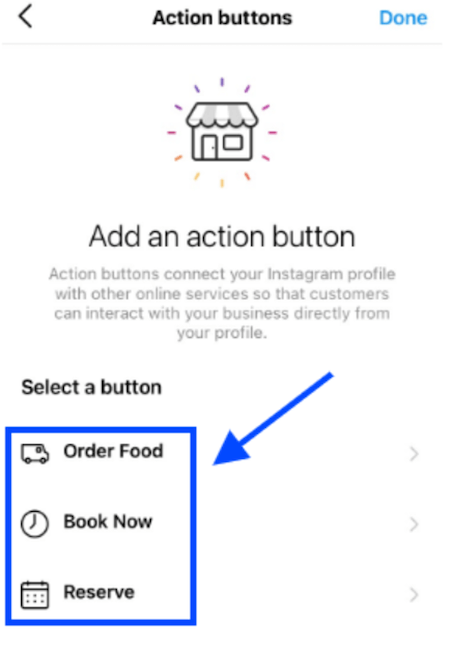 add a cta button to your instagram business profile