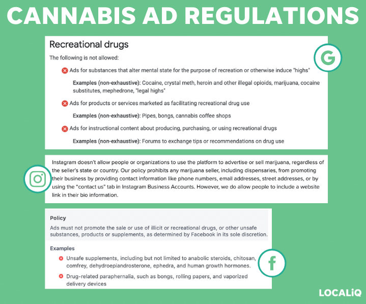 cannabis ad regulations for facebook, instagram, and google