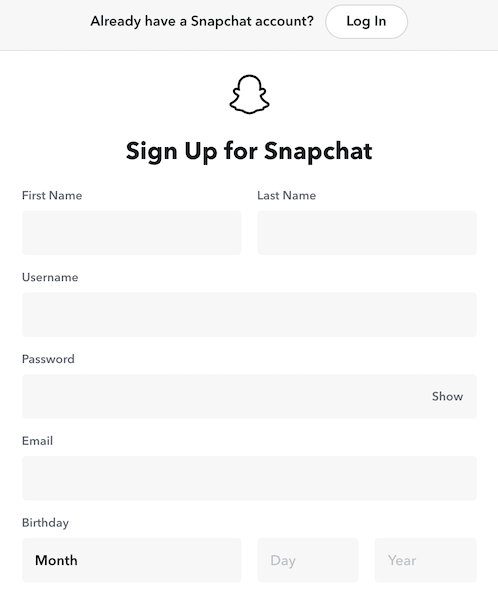 create a personal snapchat account