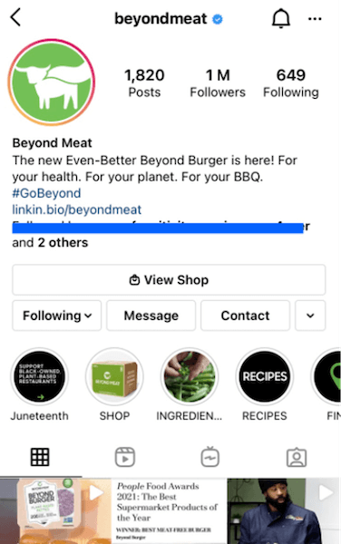 example of instagram business cta button
