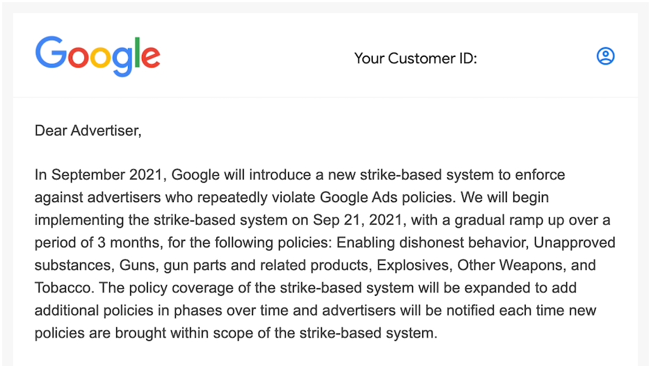 google 3-strike policy email