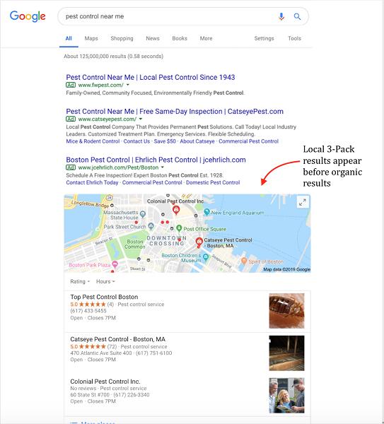 google my business benefits - google three pack example