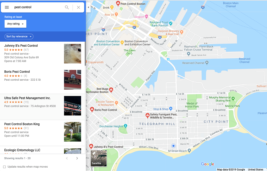 google my business benefits - maps listing example