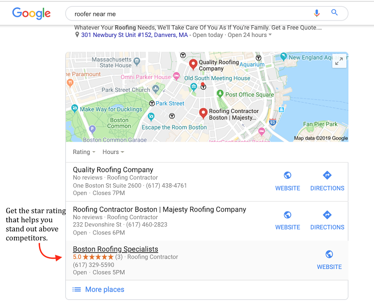 google my business benefits - ratings example